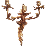 Pair of French Bronze Ormolu Wall Candelabras C. 1880