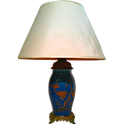 French Porcelain Turquoise Lamp C. 1900