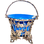 Victorian Silver Plated Basket with Opaline Lining C. 1860 / 1870