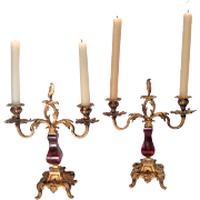 Pair of French Gilded Bronze and Tortoiseshell Candelabras C. 1880