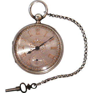 Victorian Silver Pocket Clock made in London 1884