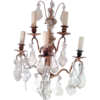 Pair of French 5-arm Bronze & Crystal Wall Lights C. 1890