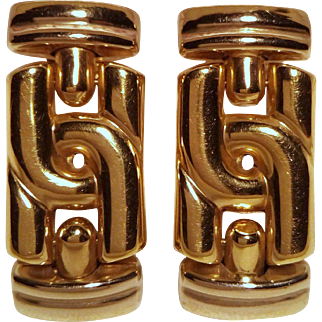 Pair of Italian Earrings (Bulgari Design) with 18 Karat White & Yellow Gold