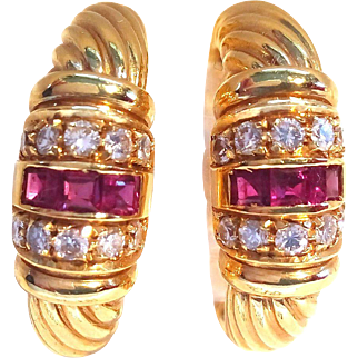 Cartier Design Pair of Earrings with Rubies & Diamonds