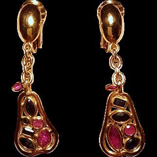 A very unusual pair of Pear Shaped 18 Karat Gold Earrings