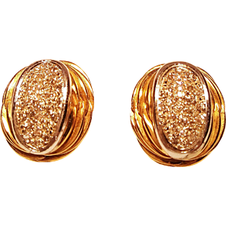A Pair of Handmade 18 Karat White & Yellow Gold Earrings