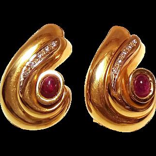 18 Karat Gold Italian Earrings