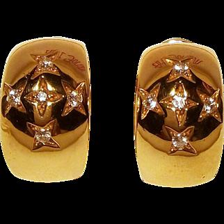 Wonderful Italian 18 Karat Gold Earrings with Brilliants