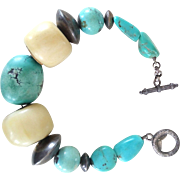 Bracelet with Turquoise, Bone & Ethnic 750 Silver