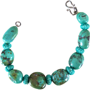 Bracelet with Turquoise Stones & Handmade Knots & 750 Silver Clip