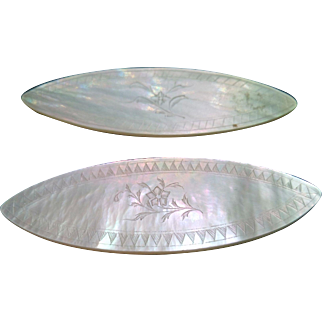 Antique Mother of Pearl Hand Engraved Gaming Chips C. 1800 – 1850