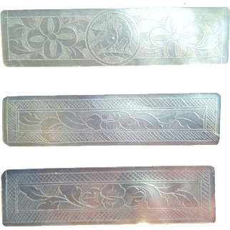 Antique Mother of Pearl Hand Engraved Gaming Chips C. 1800-1900