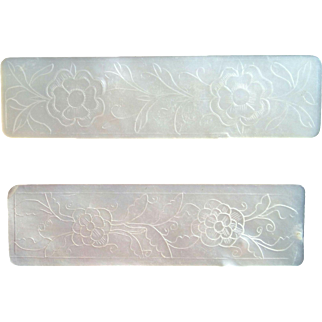 Antique Mother of Pearl Hand Engraved Gaming Chips C. 1800-1850