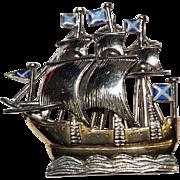 Scottish Cutty Sark Ship 9K Yellow and White Gold Brooch