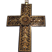 Victorian Filigree Gold Pearl and Faux Tortoiseshell Devotional Cross