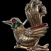Trifari Bird of Paradise on Branch Brooch