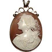 Large Detailed Victorian Cameo Pendant in 9K Gold