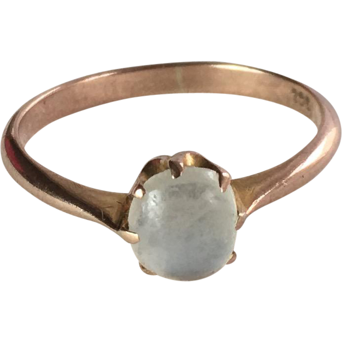 antique 9k gold cabochon moonstone ring from