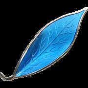 David Andersen Blue Enamel Sterling Silver Leaf Brooch