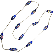 RESERVED FOR AS • 9K Gold Chain and Blue Bohemian Czech Glass Necklace