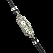 Working Art Deco Diamond and Platinum Cocktail Watch/Bracelet
