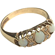 9K Gold Opal and Diamond Dress Ring