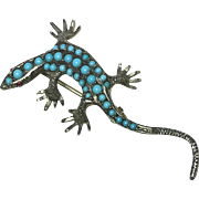 Vintage 800 Silver and Turquoise Lizard Brooch
