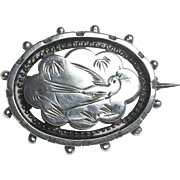Victorian Sterling Silver Aesthetic Movement Lucky Swallow Brooch