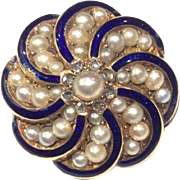 19th Century 18K Gold Pearl, Diamond and Blue Enamel Mourning Brooch - Boxed