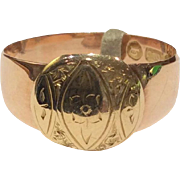 Victorian 15K Yellow and Rose Gold Engraved Ring 1897