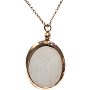 "Edwardian 9K Rose Gold Bezel Double-sided Glass Picture Holder on 19"" Chain"