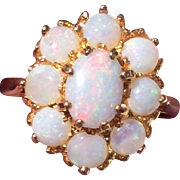 Vintage 9K Yellow Gold Opal Cluster Ring