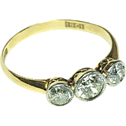 18K Gold and Platinum Bezel-Set Three-Stone Diamond Ring .5 TCW