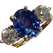 2.64CT Ceylon Sapphire and 1.17CT Diamond 18K Gold Ring - Certified