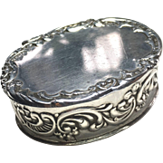 Vintage Sterling Silver Oval Pill Box