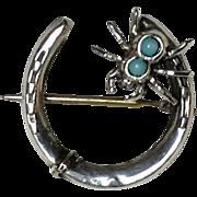 Victorian Sterling Silver Spider Horseshoe Brooch