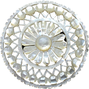 Antique Round Mother of Pearl Floral Brooch