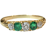 Antique Victorian 18K Gold Emerald and Diamond Dress Ring