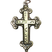 Victorian Engraved Pinchbeck Crucifix Pendant