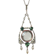 Arts and Crafts/Jugendstil Paste Diamond and Emerald 935 Silver Pendant with Pearl Drops