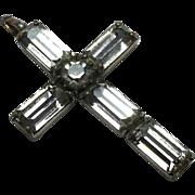 Antique Crucifix Pendant with Baguette Paste Diamonds
