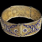 Vintage Portuguese Silver Gilt Enamelled Filigree Bracelet