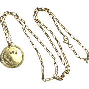Antique French 18K Yellow Gold and Seed Pearl Locket c.1900 on Long 9K Gold Chain