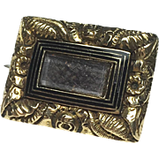 Georgian 9K Gold Mourning Brooch with Plaited Hair