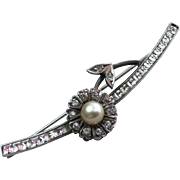 Antique Faux Diamond and Pearl Flower Silver Bar Brooch