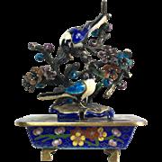 Chinese Sterling Silver Cloisonné Enamel Magpies Sculpture Objet D'Art