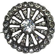 Georgian/Early Victorian Silver and Paste Set Round Brooch