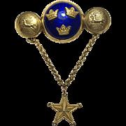 Sporrong & Co Blue Enamel Triple Crown Star Solje Brooch