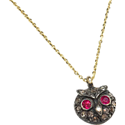 Rose-Cut Diamond and Ruby 9K Gold and Silver Owl Necklace