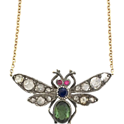 18K Gold Diamond, Sapphire and Ruby Insect Necklace